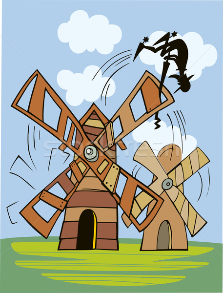 Don Quixote and wind mill Stock photo © izakowski