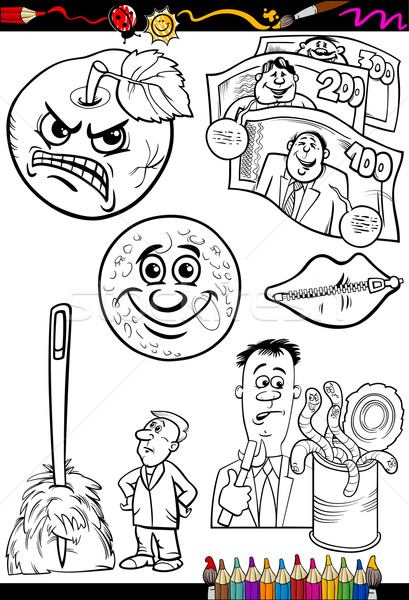 cartoon sayings set for coloring book Stock photo © izakowski