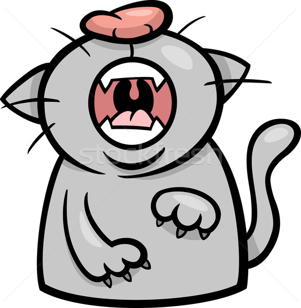 cat yawn or meow cartoon illustration Stock photo © izakowski