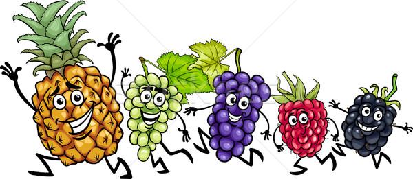 Fut gyümölcsök rajz illusztráció étel betűk Stock fotó © izakowski
