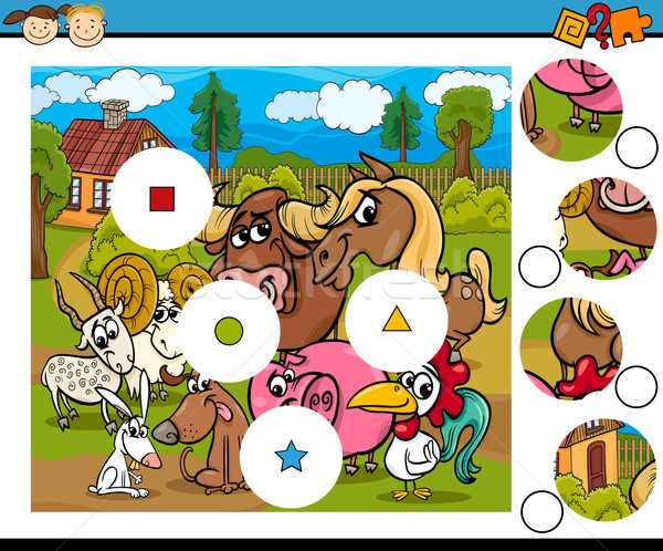 match pieces game cartoon Stock photo © izakowski