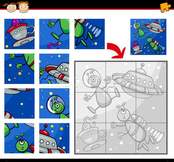 UFO kirakós játék játék rajz illusztráció oktatás Stock fotó © izakowski