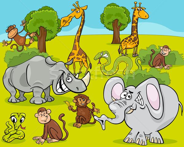 Szafari állatok rajz illusztráció jelenet afrikai betűk Stock fotó © izakowski