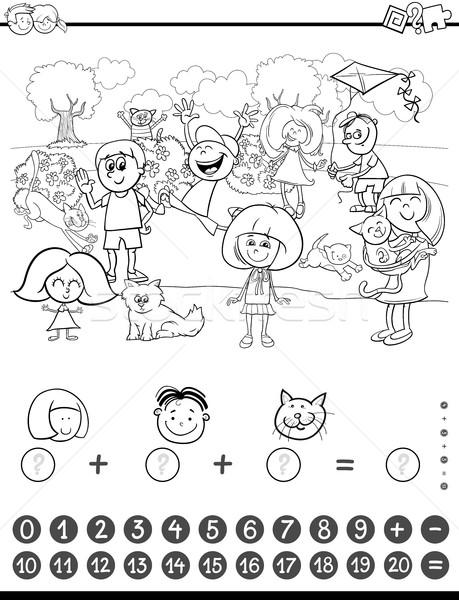 Matematika tevékenység kifestőkönyv feketefehér rajz illusztráció Stock fotó © izakowski