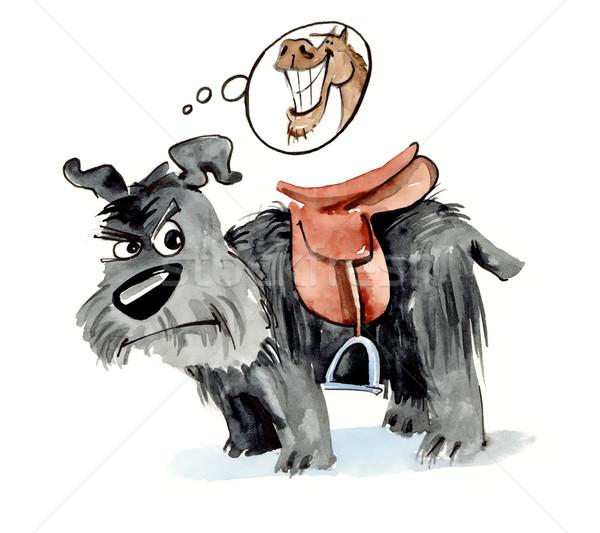 Köpek eyer komik örnek at Stok fotoğraf © izakowski