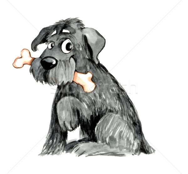 Kócos kutyacsont humoros illusztráció kutya rajz Stock fotó © izakowski