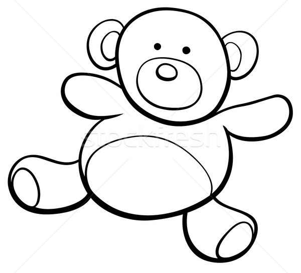 Nounours cartoon clipart livre de coloriage blanc noir illustration Photo stock © izakowski