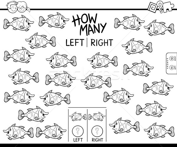 counting left and right picture of fish coloring book Stock photo © izakowski