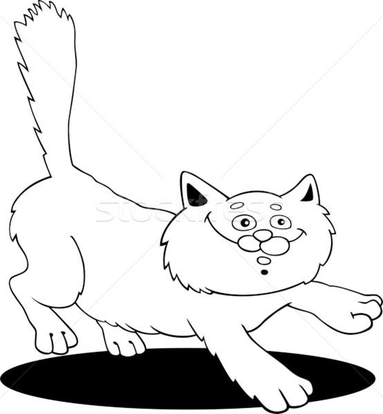 çalışma kabarık kedi karikatür örnek boyama kitabı Stok fotoğraf © izakowski