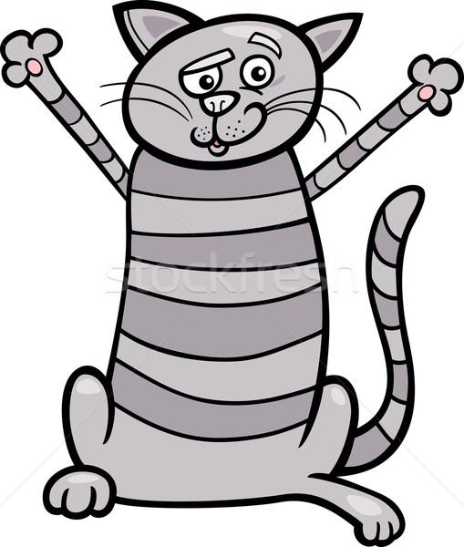 happy tabby cat cartoon illustration Stock photo © izakowski
