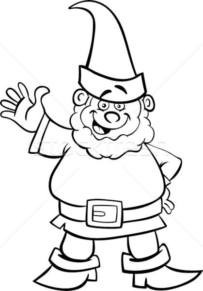 Gnomo enano Cartoon libro para colorear blanco negro ilustración Foto stock © izakowski
