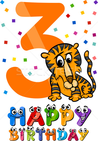 third birthday cartoon design Stock photo © izakowski