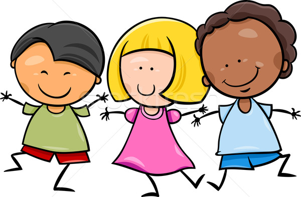 multicultural children cartoon illustration Stock photo © izakowski
