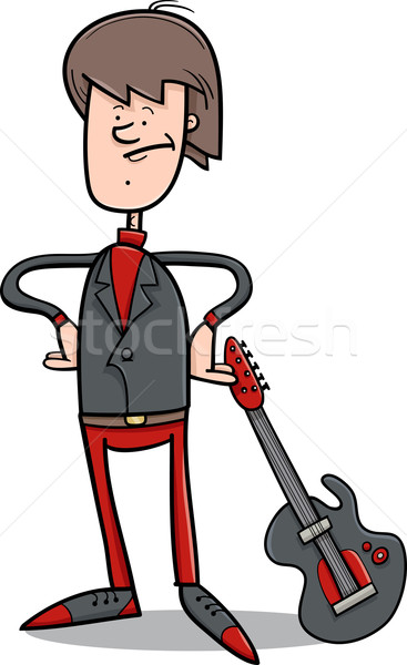 Kaya Adam Gitar Karikatür örnek Genç Vektör Ilüstrasyonu