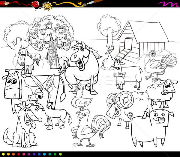 Karikatür çiftlik Hayvanları Boyama Kitabı Siyah Beyaz