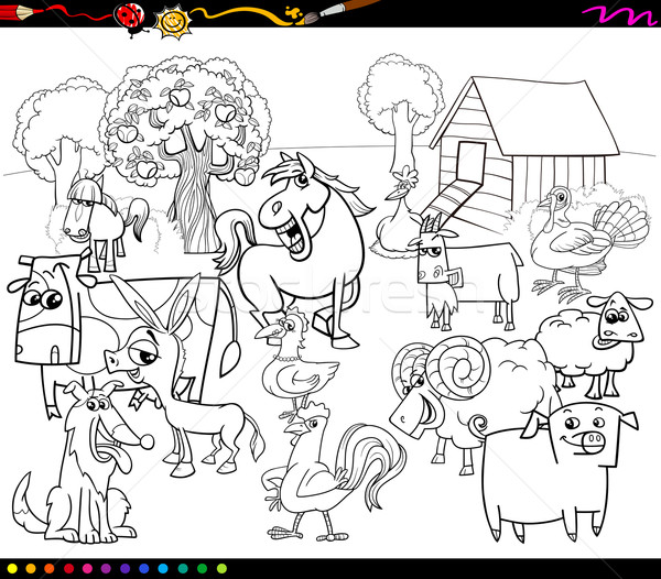 Karikatur Ciftlik Hayvanlari Boyama Kitabi Siyah Beyaz