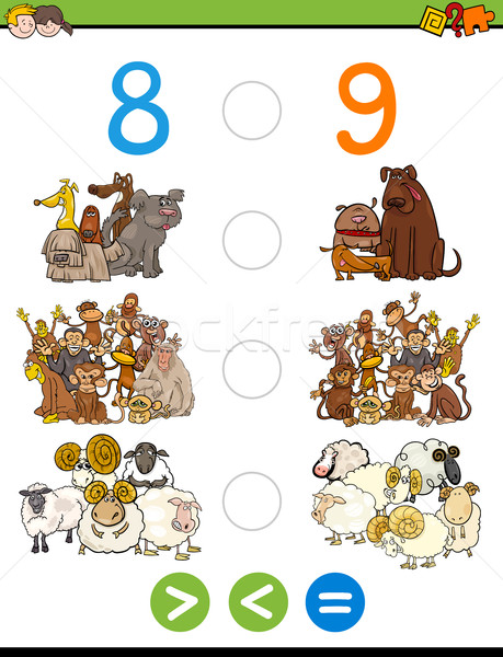 Menos igual Cartoon ilustración educativo matemático Foto stock © izakowski