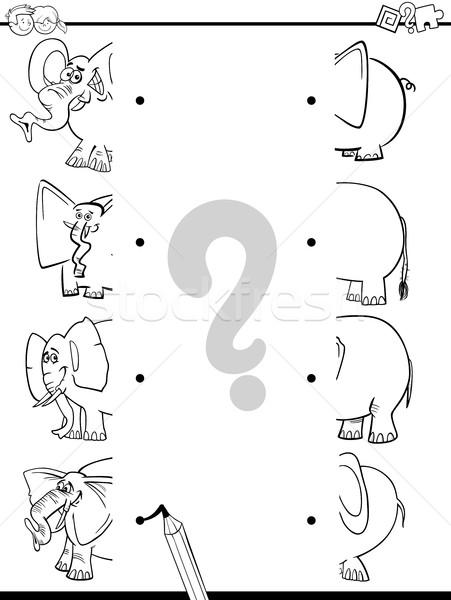Imagine de stoc: Meci · elefantii · negru · alb · desen · animat · ilustrare