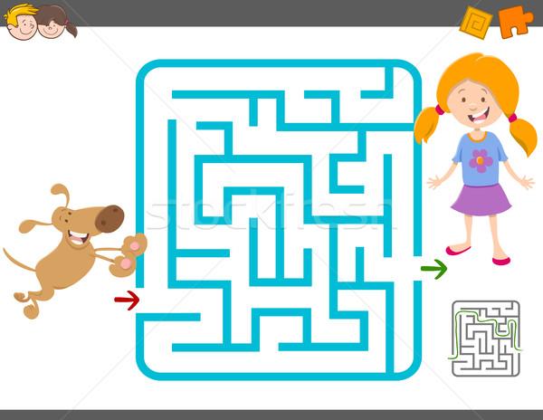 Stock fotó: Labirintus · tevékenység · játék · rajz · illusztráció · oktatás