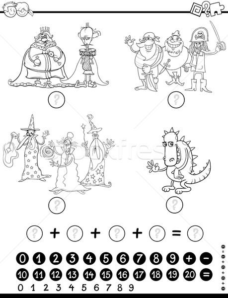 Matematyka gry strona czarno białe cartoon Zdjęcia stock © izakowski