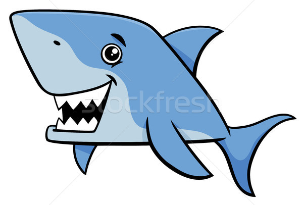 Squalo pesce cartoon illustrazione mare Foto d'archivio © izakowski