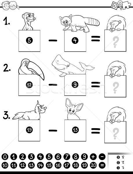 Odejmowanie edukacji gry kolorowanka czarno białe cartoon Zdjęcia stock © izakowski