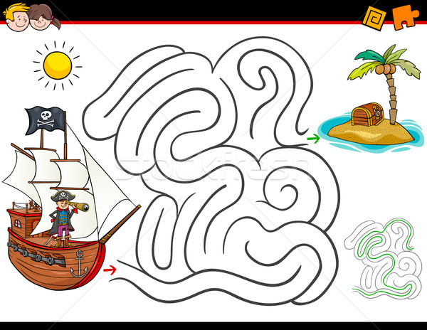 Cartoon labyrinthe activité pirate trésor illustration Photo stock © izakowski