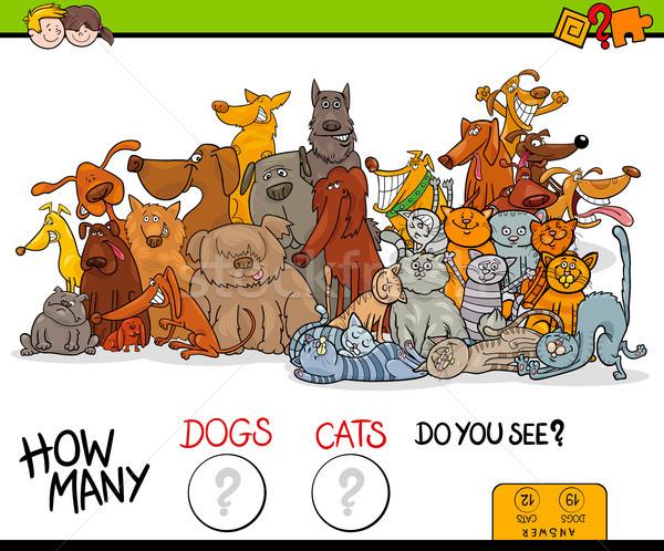 how many dogs and cats educational game Stock photo © izakowski