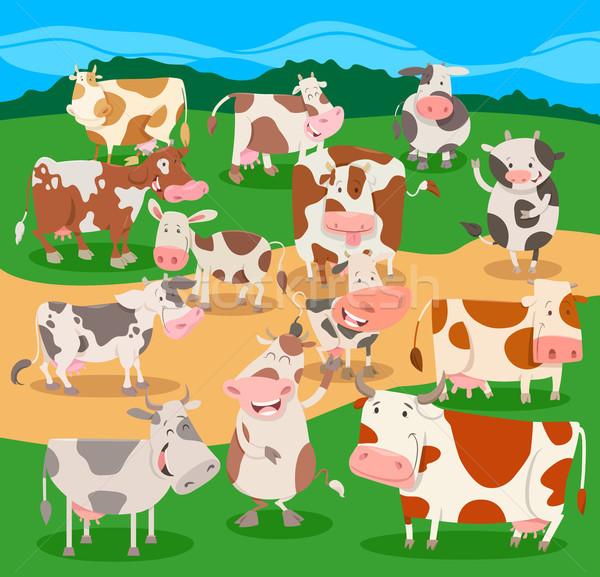 Sereg tehenek haszonállat betűk csoport rajz Stock fotó © izakowski