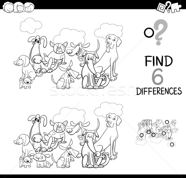 differences game with dogs animals coloring book Stock photo © izakowski