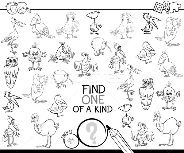 one of a kind game with birds coloring page Stock photo © izakowski