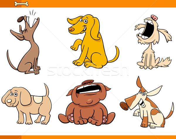 funny comic dogs cartoon characters set Stock photo © izakowski