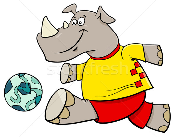 rhino football player cartoon character Stock photo © izakowski