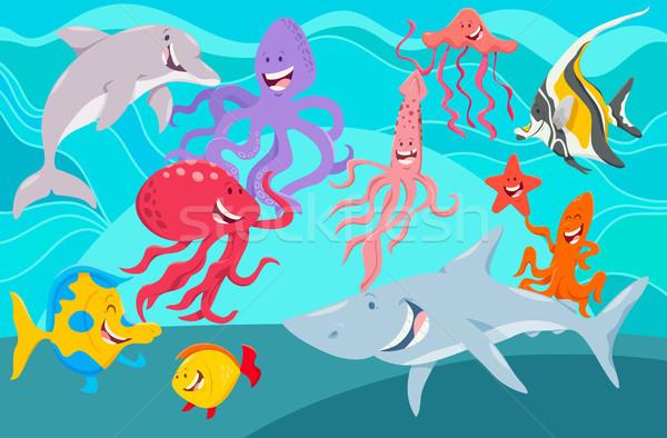 sea life animals cartoon characters group Stock photo © izakowski