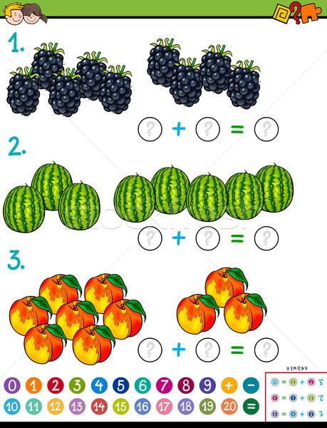 maths addition educational game with fruits Stock photo © izakowski