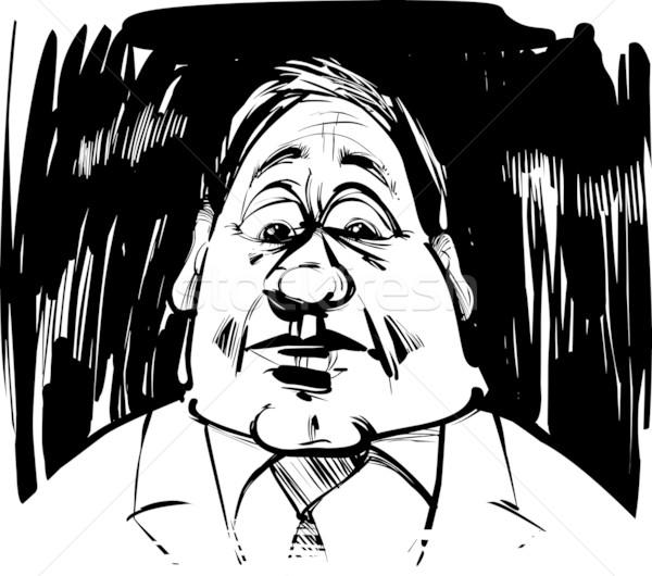 Uomo caricatura illustrazione sketch capelli arte Foto d'archivio © izakowski