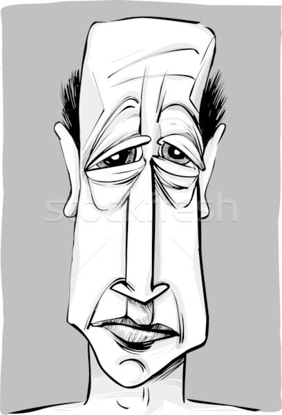 Stary karykatura szkic ilustracja starych łysy Zdjęcia stock © izakowski