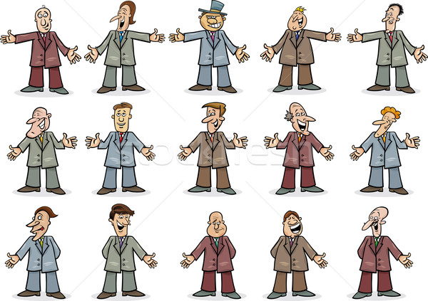 Feliz empresários coleção desenho animado ilustração conjunto Foto stock © izakowski
