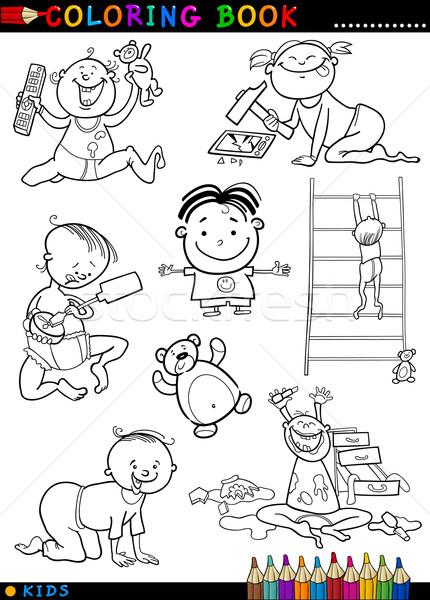 Karikatür Sevimli Bebekler Boyama Kitabı Sayfa örnek
