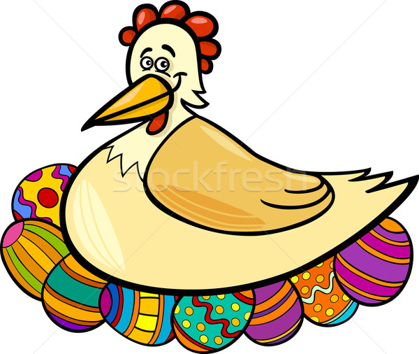 hen hatching easter eggs cartoon illustration Stock photo © izakowski