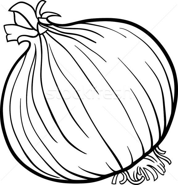Soğan Sebze Karikatür Boyama Kitabı Siyah Beyaz örnek