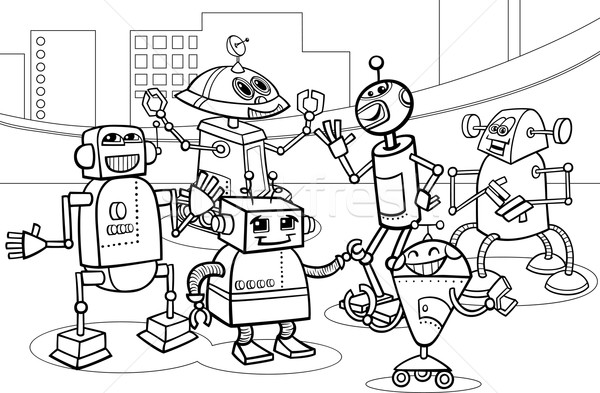Stockfoto: Robots · groep · cartoon · pagina · zwart · wit · illustratie
