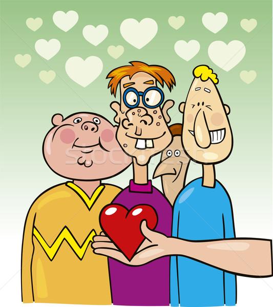Lelijk jongens liefde illustratie hart jongen Stockfoto © izakowski