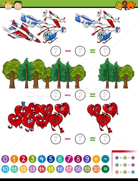 Cartoon matematyki zadanie dzieci ilustracja edukacji Zdjęcia stock © izakowski