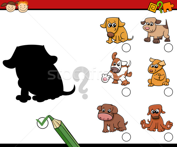 children shadows task with dogs Stock photo © izakowski