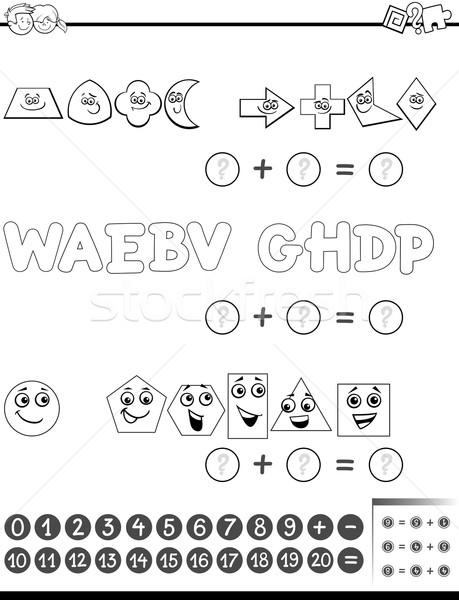 Matemáticas actividad blanco negro Cartoon ilustración educativo Foto stock © izakowski