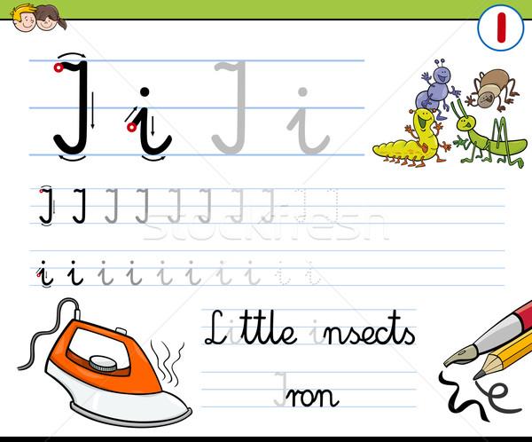 Schrijven letter i cartoon illustratie schrijven vaardigheden Stockfoto © izakowski