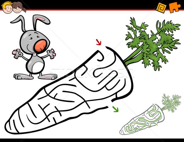 Labirynt działalność bunny cartoon ilustracja edukacji Zdjęcia stock © izakowski