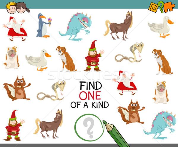 Uno educativo juego Cartoon ilustración encontrar Foto stock © izakowski