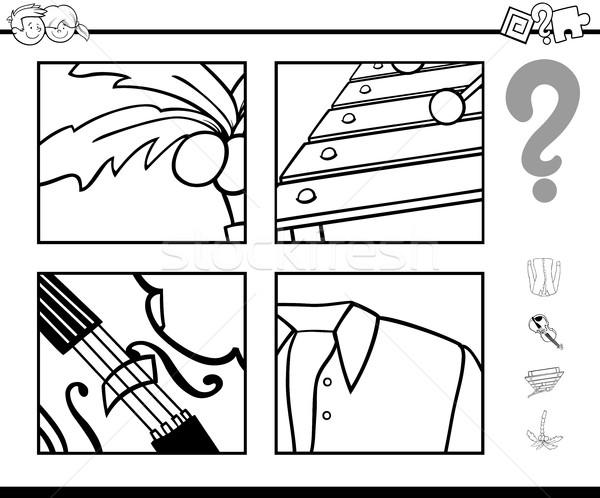 Odgadnąć obiektu strona czarno białe cartoon ilustracja Zdjęcia stock © izakowski